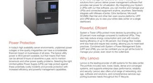 System x Tower UPS Offerings