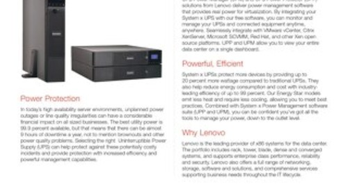 System x 1500VA, 2200VA and 3000VA Rack or Tower UPSs