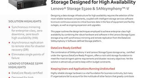 Lenovo Storage S3200 & SANsymphony-V