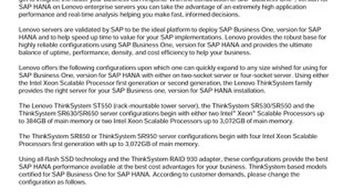 Lenovo ThinkSystem Solution for SAP Business One, version for SAP HANA
