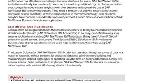 Lenovo Solution for SAP NetWeaver Business Warehouse Accelerator