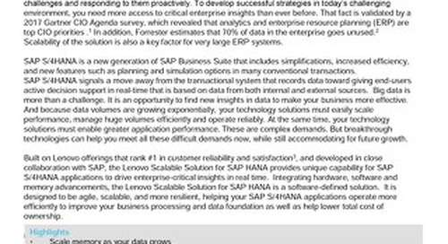 Lenovo Scalable Solution for SAP HANA
