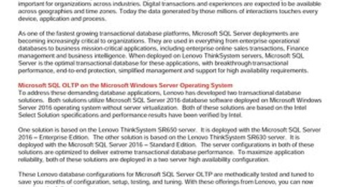 Lenovo Database Configurations for Microsoft SQL Server OLTP