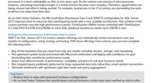 Lenovo Database Configuration for Microsoft SQL Server DWFT – 90TB