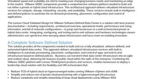 Lenovo Cloud Validated Design for VMware Software Defined Data Center