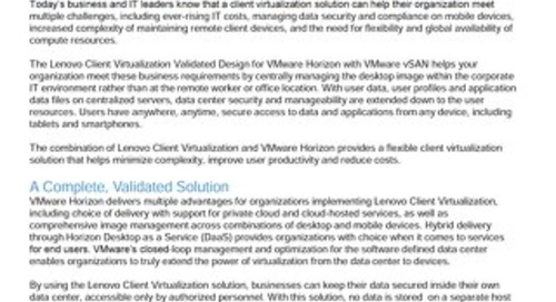 Lenovo Client Virtualization Validated Design for VMware Horizon with VMware vSAN