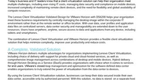 Lenovo Client Virtualization Validated Design for VMware Horizon with DS6200