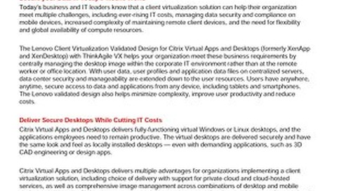 Lenovo Client Virtualization Validated Design for Citrix XenDesktop with VMware vSAN