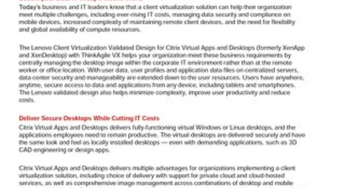 Lenovo Client Virtualization Validated Design for Citrix Virtual Apps and Desktops on ThinkAgile VX