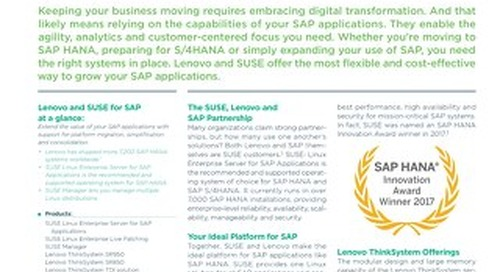 Grow your SAP applications with Lenovo and SUSE