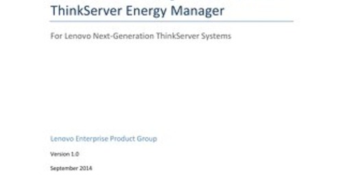 Server Power Management with Lenovo ThinkServer Energy Manager