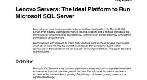 Lenovo Servers - The Ideal Platform to Run Microsoft SQL Server