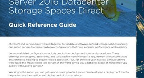 Lenovo Software Defined Storage with Windows Server 2016 Datacenter Storage Spaces Direct - Quick Reference Guide