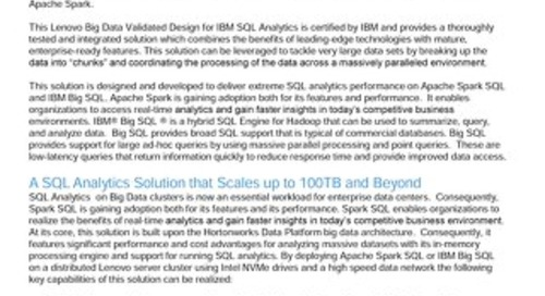 Lenovo Big Data Validated Design for IBM SQL Analytics