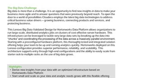 Lenovo Big Data Validated Design for Hortonworks Data Platform