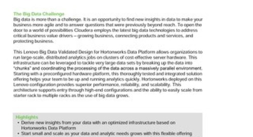 Lenovo Big Data Solution for Hortonworks Data Platform