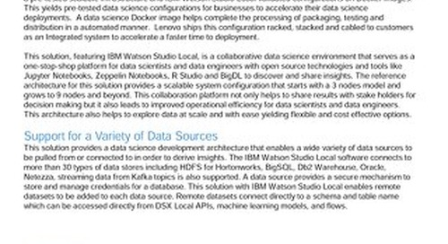 Lenovo Big Data Validated Design for IBM Data Science Experience Local