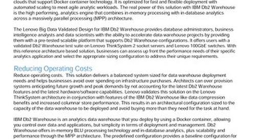 Lenovo Big Data Validated Design for IBM Db2 Warehouse