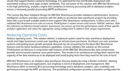 Lenovo Big Data Validated Design for IBM Db2 Warehouse