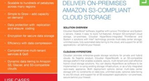 Cloudian Hyperstore, Lenovo ThinkServer and System x Deliver On-Premises Amazon S3-Compliant Cloud Storage