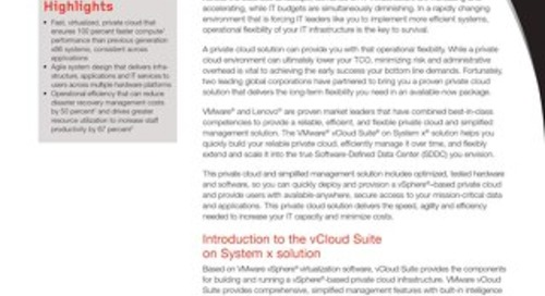 VMware vCloud Suite on System x - A Private Cloud and Simplified Management Solution