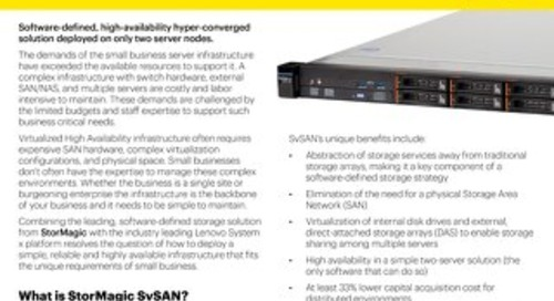 StorMagic SvSAN and Lenovo System x3250 M5