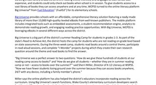 Press Release: NC School District Expands Access to Books with Online Literacy Platform