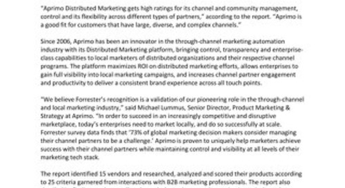"Aprimo Distributed Marketing Recognized as a ""Leader"" by Independent Research Firm"