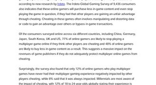 New Global Survey: Widespread Cheating in Multiplayer Online Games Frustrates Consumers