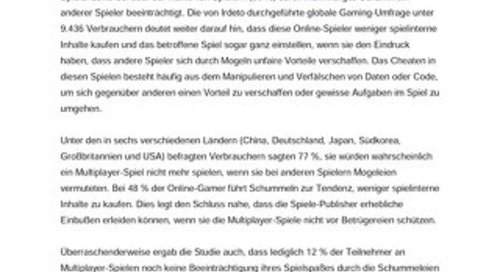 Neue globale Umfrage: Weit verbreitete Schummelei in Multiplayer-Onlinespielen frustriert Verbraucher