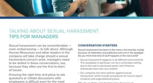 Talking about Sexual Harassment: Tips for Managers