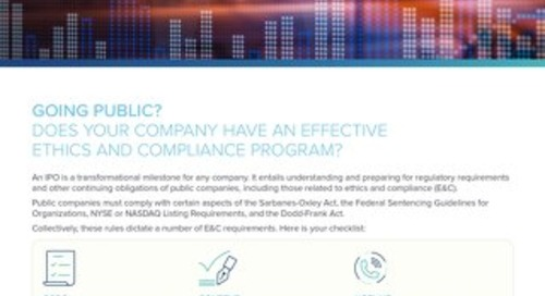Going Public? Start Preparing for the Regulatory Requirements