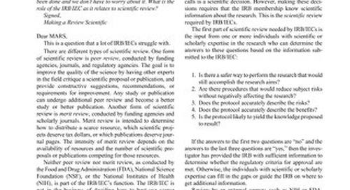 Scientific Review by the Ethics Committee