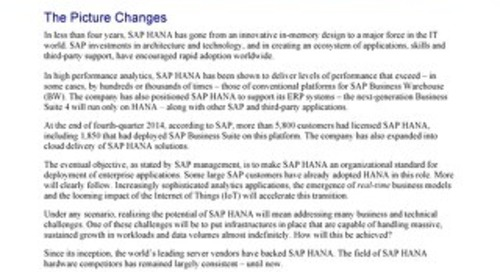 ITG Exec Brief - Cost-Benefit Case for SAP HANA Deployment