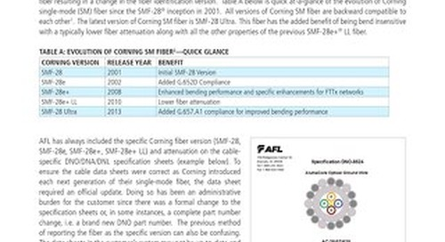 Corning Single-mode Fiber Type on Fiber Optic Cable Specification Sheets