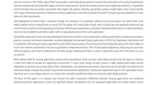 The Evolution of Optical Fiber Cable Design for Sensor Applications