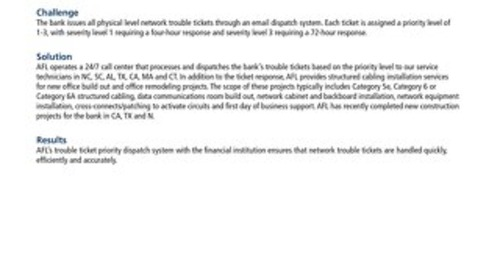 Network Infrastructure and Trouble-Ticket Priority Dispatch for Financial Institution