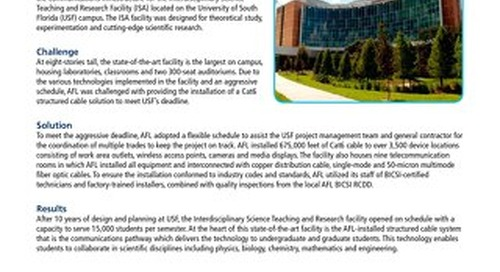 AFL Cabling Network Infrastructure for State-of-the-Art Teaching and Research Facility