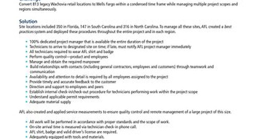 AFL Supports East Coast Conversion Project for Wells Fargo
