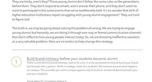 Tactics to Keeping and Reengaging Young Alumni