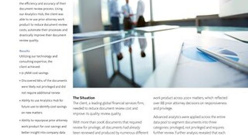 Global Financial Services Firm Reduces Document Review Costs with Analytics Hub