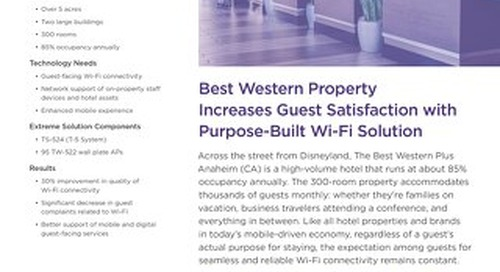 Best Western Property Increases Guest Satisfaction with Purpose-Built Wi-Fi Solution