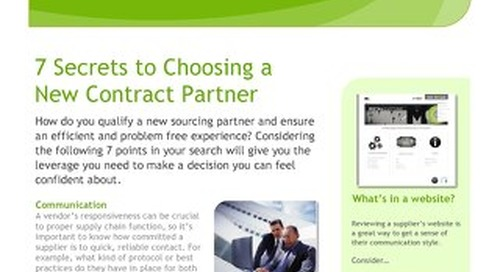 Seven Secrets to Choosing A New Contract Partner