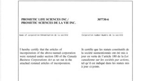 Prometic Articles of Incorporation 2017