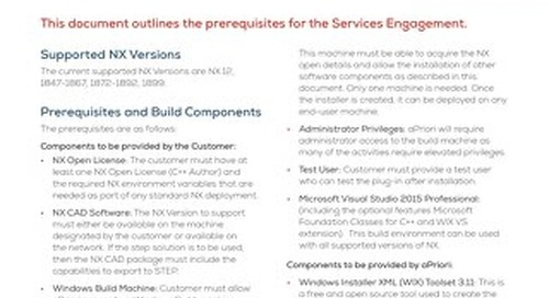 NX Prerequisites Services Engagement
