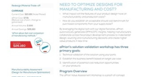 aPriori Technical Business Validation Workshop