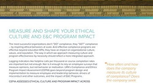 Compliance & Ethics Program Impact Assessment (CEPIA)