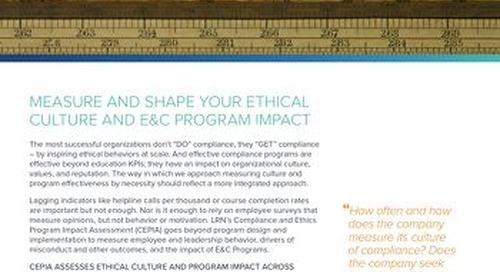Compliance & Ethics Program Impact Assessment (CEPIA)