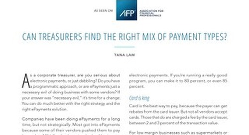 Can Treasurers Find the Right Mix of Payment Types