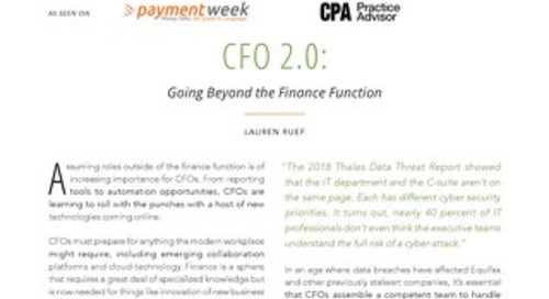 CFO 2.0: Going Beyond the Finance Function